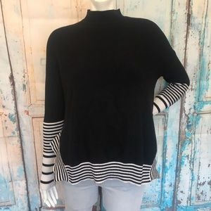 MDRN MODERN CITIZEN Black Stripe Mock Neck Sweater